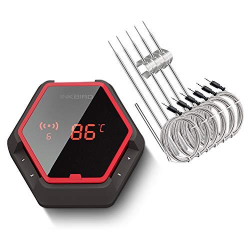 Inkbird IBT-6XS Grill Thermometer Digital Funk 6 Temperaturfühlern mit dem 1000mAh Li-Batterie,Magnet und 180 Grad Bildschirmanzeige drehen für Ofen, Kochen, Outdoor Grill(Rot)