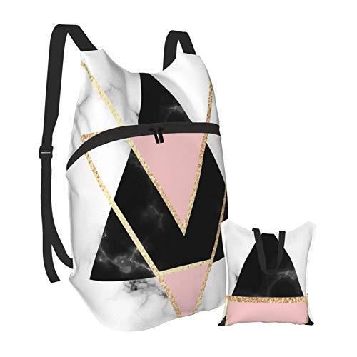 Dorado y negro triángulos geométricos mármol ligero mochila plegable senderismo Daypack impermeable bolsa para hombres mujeres
