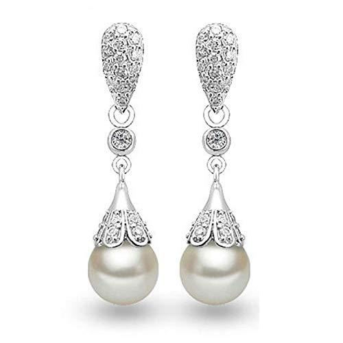 TLBB Sterling Silver Clear Crystal Long Drop Pendientes de lágrima Partido de Novia Joyería de Boda para Mujeres