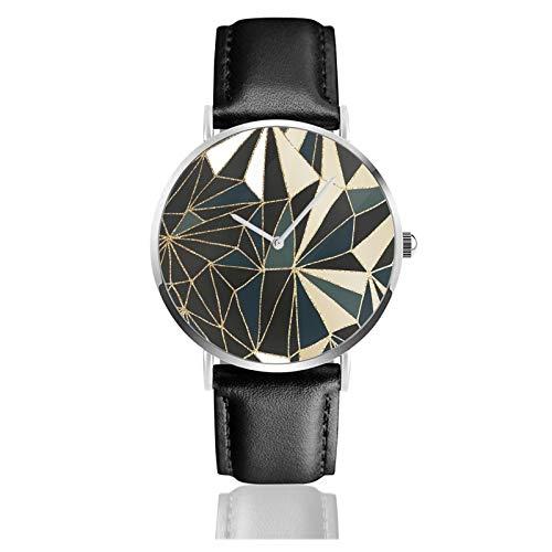 Nuevo Art Deco Geometría Verde Esmeralda y Oro Clásico Casual Reloj De Cuarzo Acero Inoxidable Correa De Cuero Negro Relojes Relojes De Pulsera