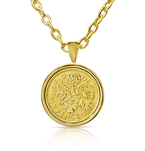 Lucky Real Sixpence Coin Necklace Pendant 24ct Gold Plated on 18'' Gold Plated Chain 1962