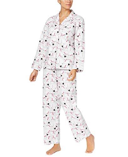 Charter Club 100% Cotton Flannel Button Down Pajama Set (Tossed Snowmen) (XXX-Large)