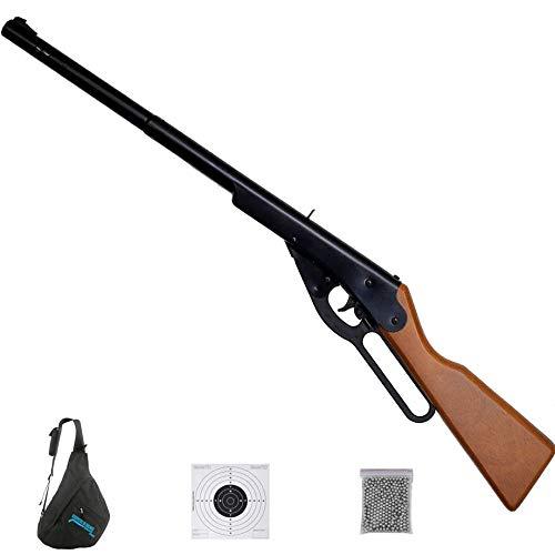 ECOMMUR. Escopeta de balines Dasiy Buck de Muelle Tipo Winchester (por Palanca) Madera - Carabina de Bolas (perdigones BB's de Acero) Calibre 4,5mm [2 Julios]