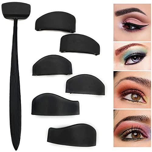 6 in 1 Eyeshadow Crease Line Kit, Tragbares Silikon-Lidschatten-Stempelwerkzeug, Lidschatten- und Eyeliner-Applikator, Lazy Eyeshadows Fixer, Quick Eye Makeup Tool für Frauen Mädchen…