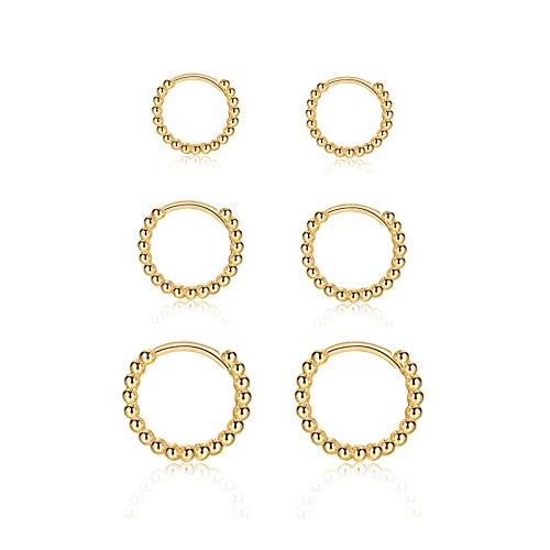 Creolen Gold Damen, 3 Paar Ohrringe Gold Creolen (8mm/10mm/12mm) für Damen Herren Mädchen