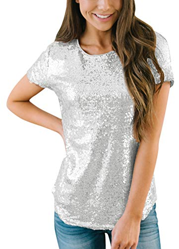 Womens Sequin Round Neck Short Sleeve Shirt Shiny Party Casual Top Silver M