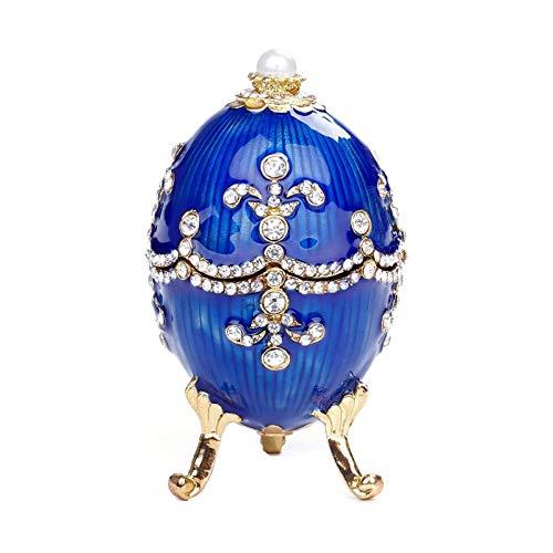 DTKJ Faberge Style Huevo Almacenamiento Huevo Ruso Huevo Crafts Home European Jewelry Caja para Anillo, Collar, Pulsera