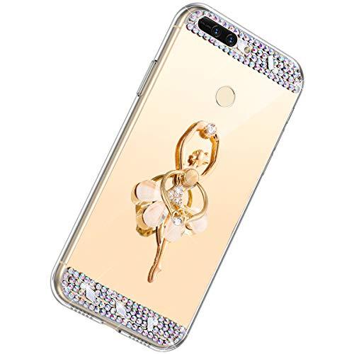 Herbests Kompatibel mit Huawei Honor 8 Pro Handyhülle Glitzer Diamant Glänzend Spiegel Handytasche Durchsichtig Kristall Bling Schutzhülle Case mit 360 Grad Ring Ständer Halter,Gold