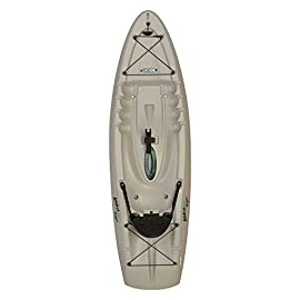"Lifetime Hydros Angler Kayak with Paddle, Sandstone, 101"" 1 Lightweight design. Multiple footrest positions for different size riders. Molded-in swim-up deck Combination tunnel hull design provides great stability and tracking. Center carry handle for easy transport to waterfront Front and rear shock cord straps. Front t-handle for easy transport"