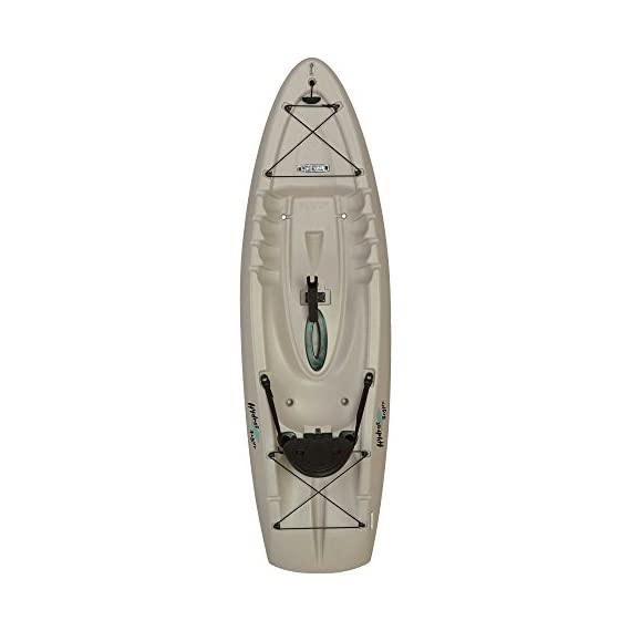 """Lifetime hydros angler kayak with paddle, sandstone, 101"""" 1 lightweight design. Multiple footrest positions for different size riders. Molded-in swim-up deck combination tunnel hull design provides great stability and tracking. Center carry handle for easy transport to waterfront front and rear shock cord straps. Front t-handle for easy transport"""