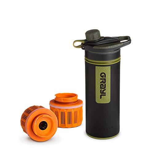 Grayl GeoPress Outdoor- und Reisewasserfilter mit 2 Ersatzfiltern - Camo Black