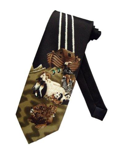 Parquet Mens Noah's Ark Bible Story Necktie - Black - One Size Neck Tie