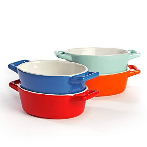 Mini platos de horno de cerámica - Juego de 4 | Horno a la mesa Platos para hornear | Colores rojo, azul, verde y naranja | M&W ovalado