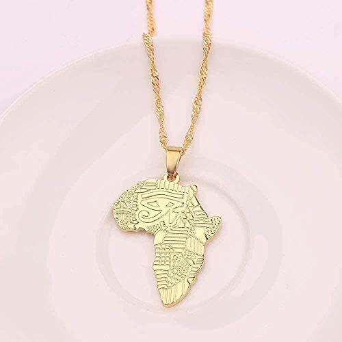 Yiffshunl Collar Collar de Hip-Hop Mapa Africano con Cadena de Ojos Color Dorado Kwanzaa Colgante Joyería de la Amistad Tribal Regalos para Hombres Niños Etíope Neklace para Mujeres Collar de Regalo
