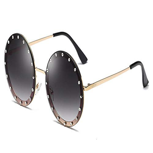 Yangjing-hl Gafas de Sol Decorativas de Cristal Redondo Nuevo diseñador de Marca Rhinese Gafas de Sol para Mujer Oculos