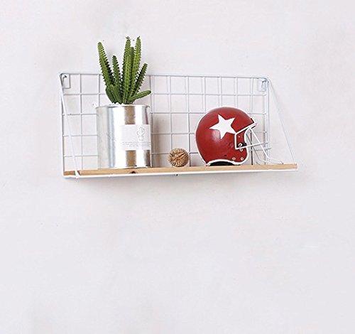 Easy Chic - Estante de pared de metal industrial y madera, color negro y blanco natural, madera, Blanco, Large 44cm