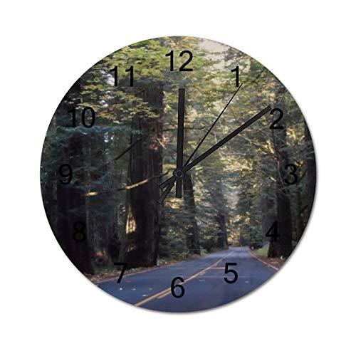Avenue Of The Giants Humboldt Redwoods State Park runde Wanduhr, rustikale leise Uhren Bauernhaus Hütte Landhaus Dekor