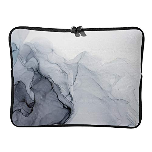 Regular Marble Texture Laptop Bags Waterproof Casual Abstract Art Laptop Case Suitable for Business Trip White 10 Zoll