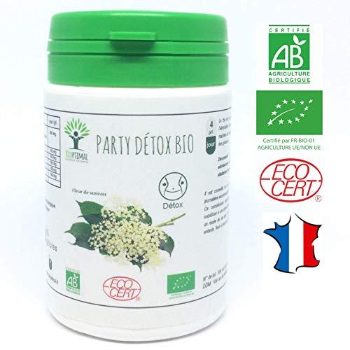 Party détox bio | 60 gélules | Complément alimentaire | Détoxifiant lendemain de fête | Bioptimal - nutrition naturelle | Fabriqué en France | Certifié par Ecocert | Satisfait ou Remboursé 30 jours