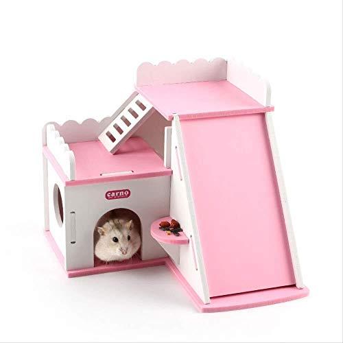 Huisdieren Huisdier Accessoireshedgehog Hamster Houten Huis Villa Met Slide Ladder Dak Kamer Klein Huisdier Bed Gift Huisdier huis Huisdieren benodigdheden