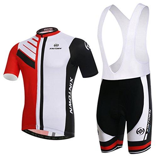 SKYSPER Hombres Jersey + Pantalones Cortos Mangas Cortas de Ciclismo Ropa Maillot...