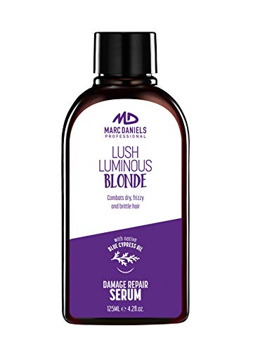 Purple Hair Repair Serum Treatment. Neutralize Brassy Yellow Tones, Detangle & Defreeze. For Blonde, Color Treated, Gray Hair. Blue Cypress and Moroccan Argan Oil