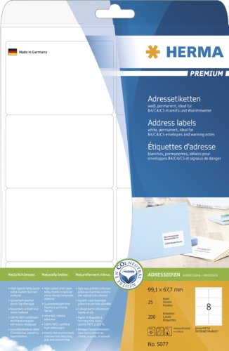 HERMA 5077 Adressaufkleber DIN A4, 32er Set (99,1 x 67,7 mm, 800 Blatt, Papier, matt) selbstklebend, bedruckbar, permanent haftende Universal Etiketten, 6.400 Klebeetiketten, weiß