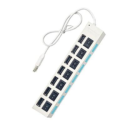 7-Port USB Hub 2.0, Multi USB Port USB Splitter...