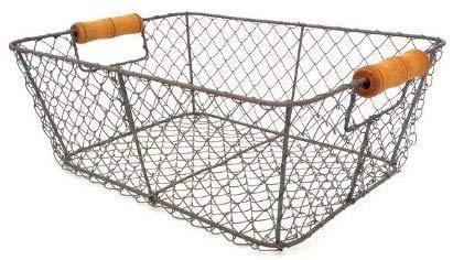 Gray Storage Basket, Medium Wire mesh, Retro Chic, Industrial Style, Industrial Utensils, Kitchen Utensils, Caddy, Bathroom Supplies, Sundries,Grey