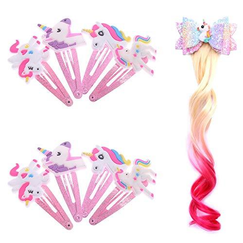gotyou 8 Stück Einhorn Haarspangen + Farbverlauf Einhorn Perücke Haarnadel,Mädchen Haarspange Baby Haarnadel,Haarspangen Geschenk für Kinder,Party,Geburtstag,Einhornschmuck für Kinder