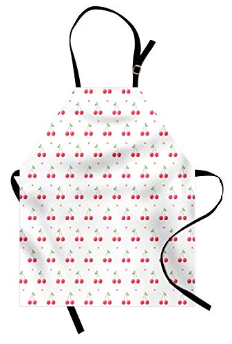ABAKUHAUS Cerise Tablier, Fruits d'été et à Pois, Produit Unisexe avec Col Réglable pour Cuisine et Jardinage, Corail Blanc
