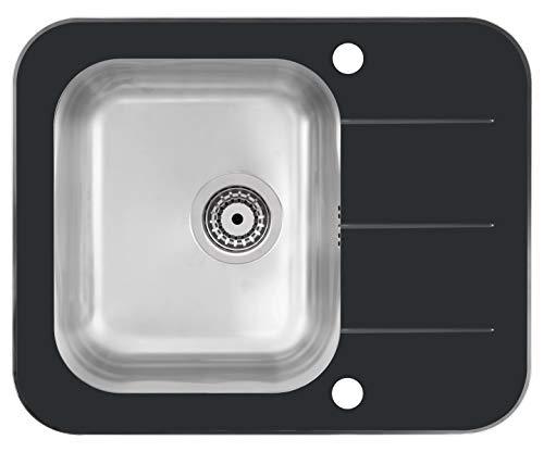 VBChome Glasspüle 62x50 cm Spülbecken Spüle Einbauspüle schwarz Glas inkl. Excentergarnitur gehärtetes Spüle mit Gebürstete Edelstahl Becke (Spülbecken)