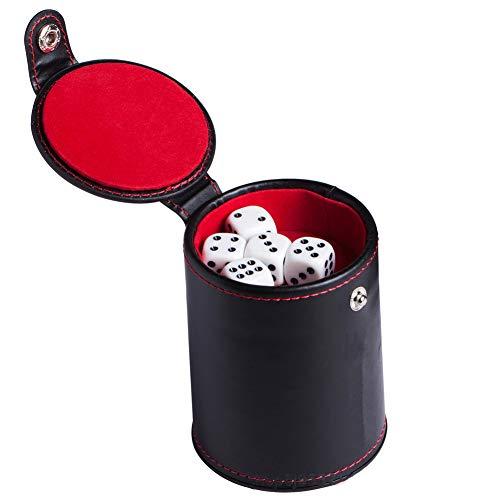 Dongbin Würfelbecher Set mit 5 Würfeln, PU Leder und Filzfutter Leiser Shaker mit Deckel | Stabile robuste komfortable Hand Gefühl Würfelbecher Set für Tischspiele, Brettspiele