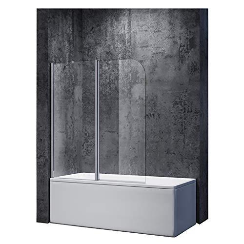 SONNI Duschwand 120x140cm Duschabtrennung Duschwand für Badewanne mit Stabilisator Duschtrennwand badewannenaufsatz