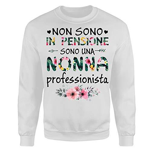 Vulfire Felpa Donna Non Sono in Pensione Sono Una Nonna (Bianco, XL)