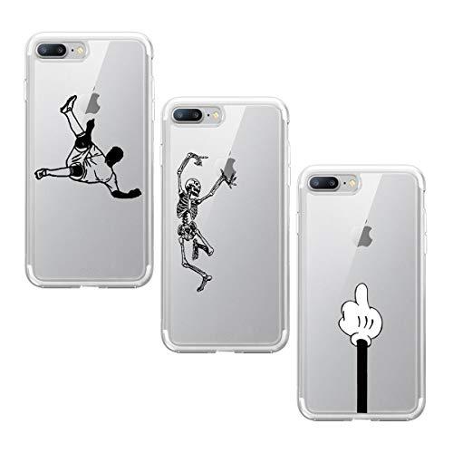 Suhctup Funda Compatible con iPhone 7 Plus/8 Plus Silicona Transparente Case,Cárcasa 3 Pack con Dibujo Animado Lindo,Ultra Delgada de Gel Suave y TPU Bumper a Antigolpes Suave Cover(9)