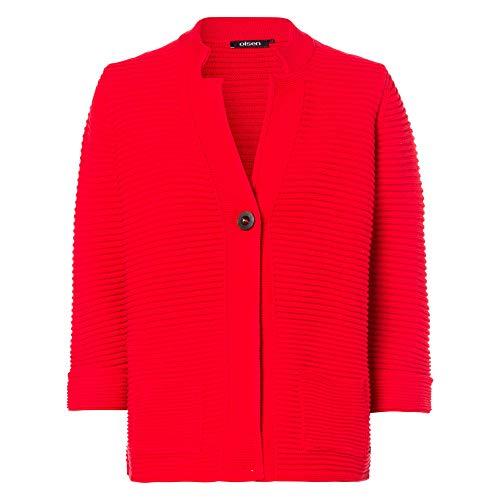 Olsen 11003121 20189 Damen Strickjacke mit Knopfleiste und aufgesetzten Taschen, Groesse 48, rot