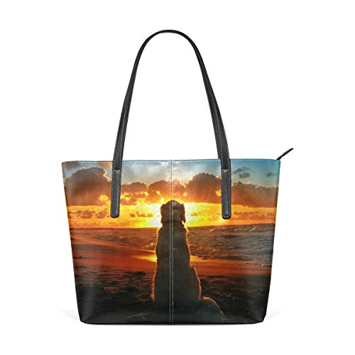 jhin Womens Purse Labrador Retriever Watching Sunset PU Leather Shoulder Tote Bag Bolso de hombro Backpack Ladies Travel Shopping Bags