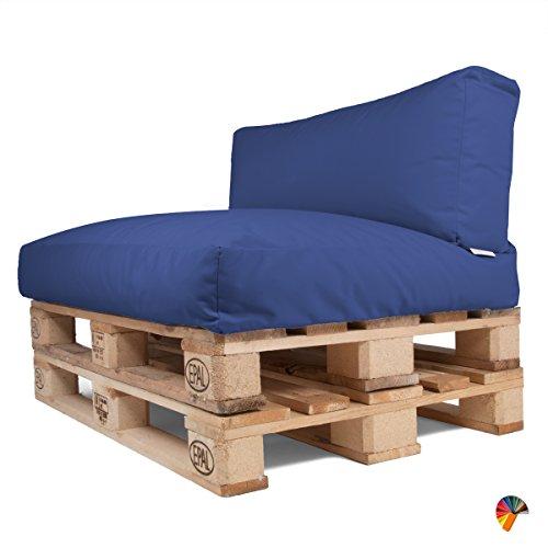 Arketicom Soft Set Doux Coussins pour Canapé Palette Dehoussable Jardin d'extérieur Hydrofuge 120x80 cm Bleu Melange