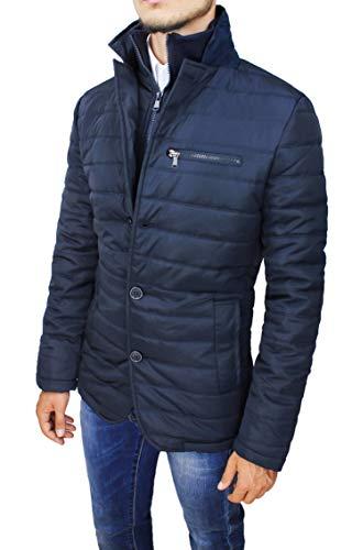 Mat Sartoriale Giubbotto Piumino Uomo Slim Fit Casual Giacca Giubbino Invernale (XL, Blu)