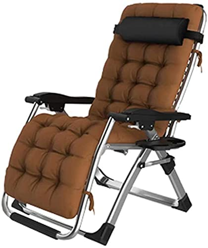 Extra wide garden chair, Lounger Outdoor Garden Camping Relax Comfort Foldable sun Adjustable Deck chair the yard Balcony Patio, brown