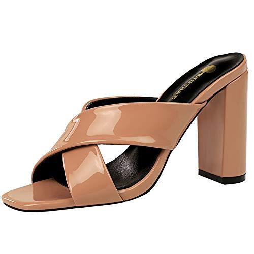 ELEEMEE Donne Moda Summer Scarpe Tacco Blocco Sandali Mules Slip On Heels Festa Scarpe Open Toe Nude Taglia 37 Asian