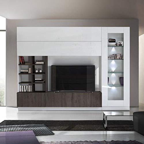 arredocasagmb.it Parete attrezzata Porta TV Bianco Lucido Moderno Legno Rovere WENGHE' Essenza vetrina Sky