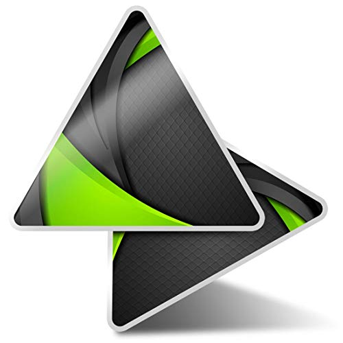 2 x Triangle Stickers 10cm - Green Black Tech Gamer Gaming Abstract Fun Decals for Laptops,Tablets,Luggage,Scrap Booking,Fridges,Cool Gift #45219