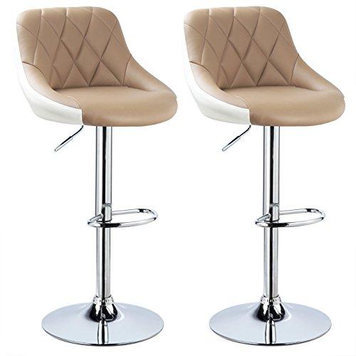 WOLTU BH30kk-2 Design 2 farbig Barhocker mit Griff, 2er Set, stufenlose Höhenverstellung, verchromter Stahl, Antirutschgummi, pflegeleichter Kunstleder, gut gepolsterte Sitzfläche, Khaki+Weiss