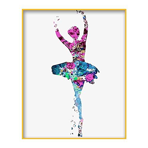 Punto de cruz, pintura al óleo digital de bailarina de Papá Noel...