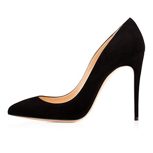 EDEFS Zapatos de Tacón para Mujer,Clásicas Tacones Altos 10 CM,Gran tamaño Zapatos Negro EU35