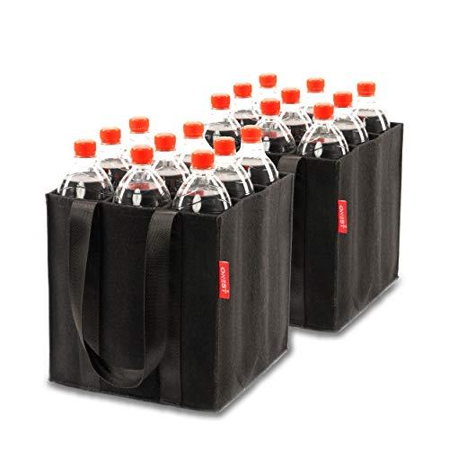 ONEST Bolsa para botellas – Portabotellas fiable también para botellas de 1,5 l – Cesta de botellas de fieltro de aguja de alta calidad – Para 9 botellas de todos los tamaños (juego de 2)