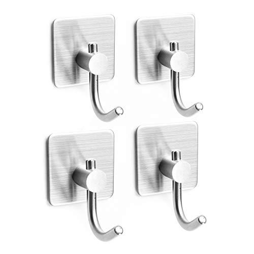 TOGU zelfklevende haken zware jas & gewaad haken/muur haken nagelvrije waterdichte Stick op badkamer keuken deur voor opknoping sleutels hoeden handdoek jassen, geborsteld roestvrij staal afwerking,1 Pack Modern design 4pcs Roestvrij staal