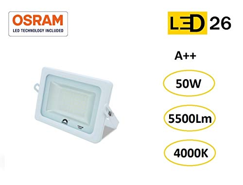 LED26® Exterior Floodlight Led Foco 50w chip LED OSRAM Proyector Led para Exterior Iluminación Decoración 4000k IP65 Blanco [Clase de eficiencia energética A++]